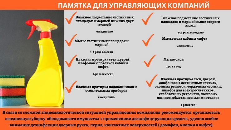 Памятка для УК по уборке подъездов в связи с коронавирусом