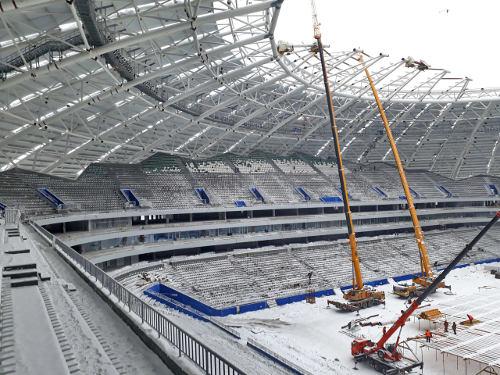 Настадионе «Самара Арена» вновь вернулись кмонтажу зрительских кресел